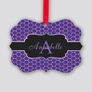 Purple Mermaid Scale Monogram Ornament