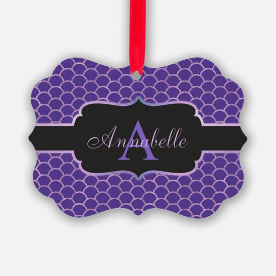 Purple Mermaid Scale Monogram Ornament
