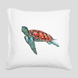 Wild Turtle Square Canvas Pillow