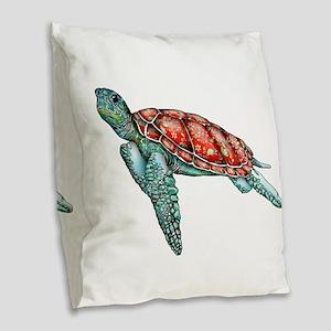 Wild Turtle Burlap Throw Pillow