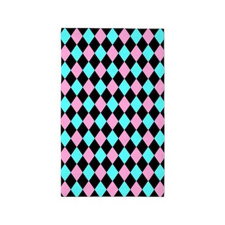 aqua pink and black area rug by decorativedecor. Black Bedroom Furniture Sets. Home Design Ideas