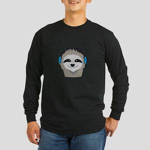 Sloth with headphones Long Sleeve T-Shirt