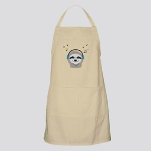 Sloth with headphones Apron