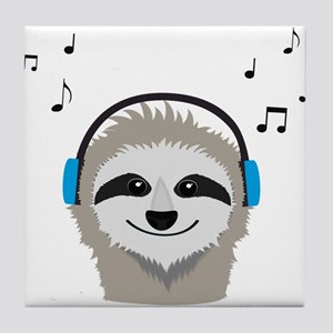 Sloth with headphones Tile Coaster
