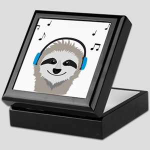 Sloth with headphones Keepsake Box