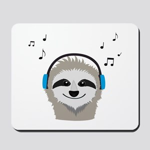 Sloth with headphones Mousepad