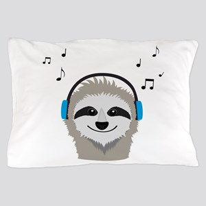 Sloth with headphones Pillow Case