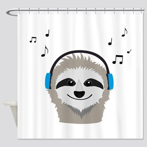 Sloth with headphones Shower Curtain