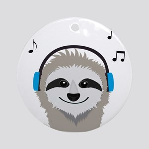Sloth with headphones Round Ornament