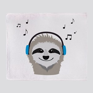 Sloth with headphones Throw Blanket