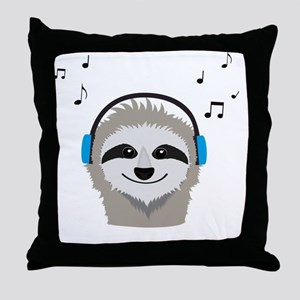 Sloth with headphones Throw Pillow