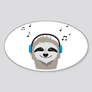 Sloth with headphones Sticker