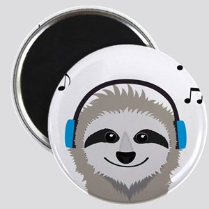 Sloth with headphones Magnets
