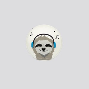 Sloth with headphones Mini Button