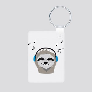 Sloth with headphones Keychains
