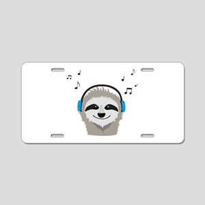 Sloth with headphones Aluminum License Plate