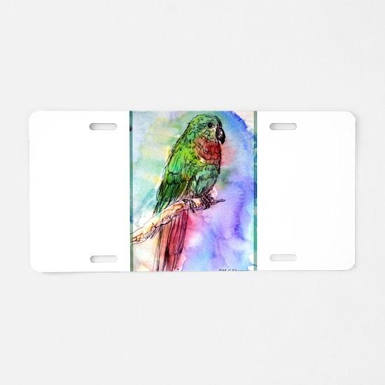 Parrot painting, bird art Aluminum License Plate