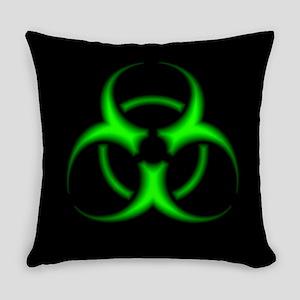 Neon Green Biohazard Symbol Everyday Pillow