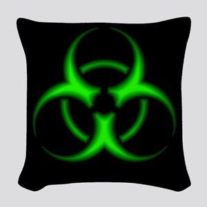 Neon Green Biohazard Symbol Woven Throw Pillow