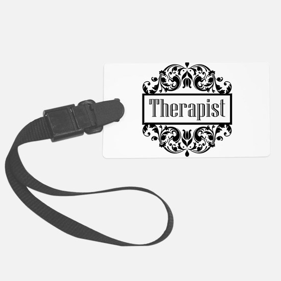 Therapist damask Luggage Tag