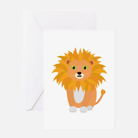 Lion with green eyes Greeting Cards