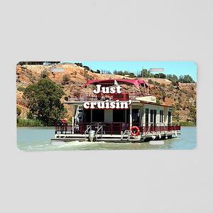Just cruisin': houseboa Aluminum License Plate
