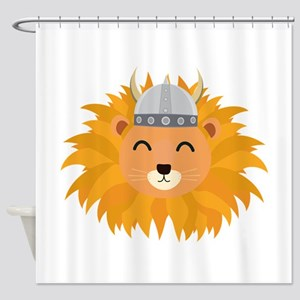 Viking lion head Shower Curtain