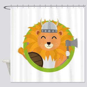 Viking lion with circle Shower Curtain