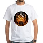 Flaming Darts Skull White T-Shirt