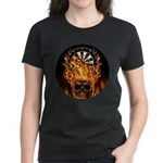 Flaming Darts Skull Women's Dark T-Shirt