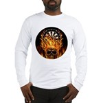 Flaming Darts Skull Long Sleeve T-Shirt