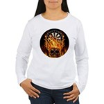 Flaming Darts Skull Women's Long Sleeve T-Shirt