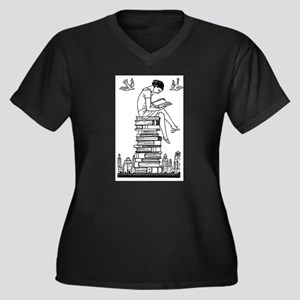 Reading Girl atop books Plus Size T-Shirt