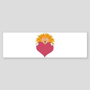 Romantic Lion with heart Bumper Sticker