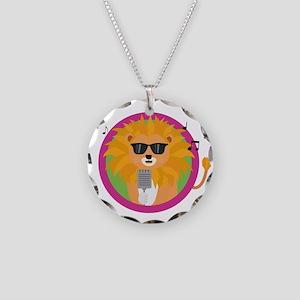 Singing music lion Necklace Circle Charm