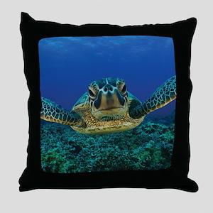 Turtle Swimming Throw Pillow