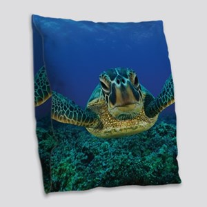 Turtle Swimming Burlap Throw Pillow