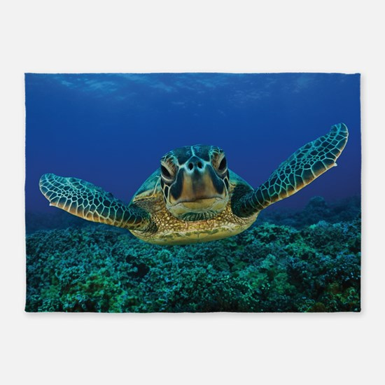 Turtle Swimming 5'x7'Area Rug