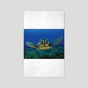 Turtle Swimming Area Rug