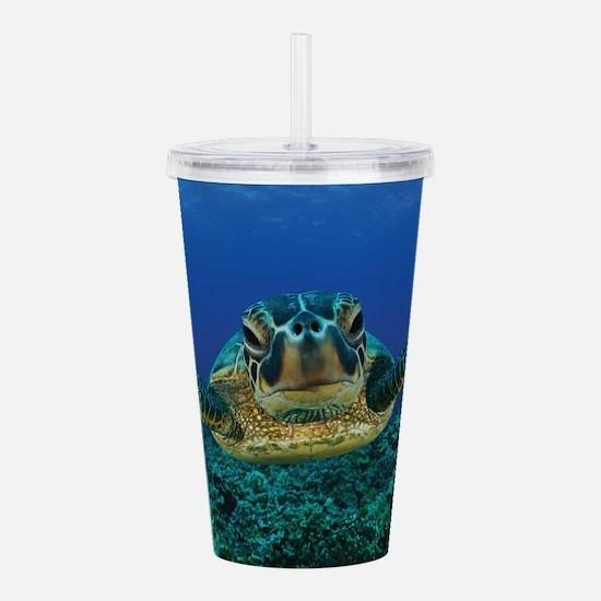 Turtle Swimming Acrylic Double-wall Tumbler