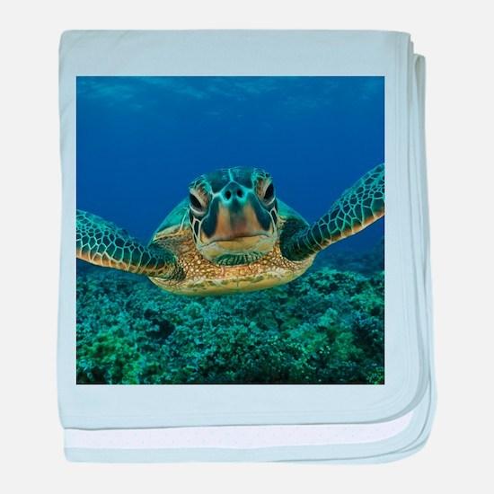 Turtle Swimming baby blanket