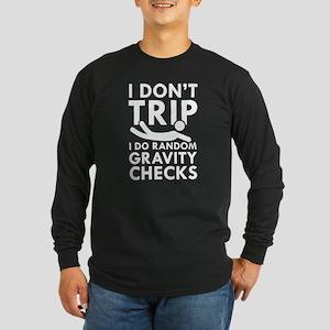 Gravity Checks Long Sleeve Dark T-Shirt