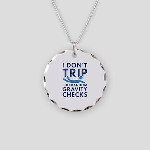 Gravity Checks Necklace Circle Charm
