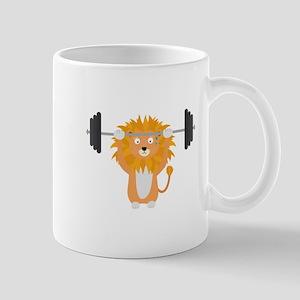 Weight lifting lion Mugs