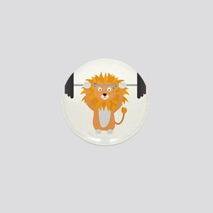 Weight lifting lion Mini Button