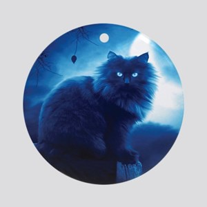 Black Cat In The Night Round Ornament
