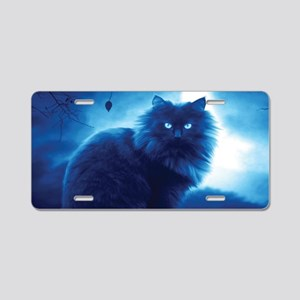 Black Cat In The Night Aluminum License Plate