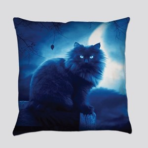 Black Cat In The Night Everyday Pillow