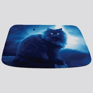 Black Cat In The Night Bathmat