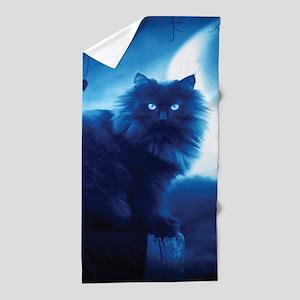 Black Cat In The Night Beach Towel
